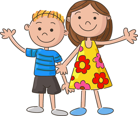 sisters: cartoon little kids holding hand Illustration