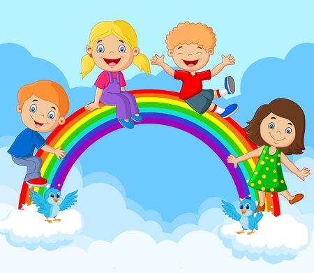 clouds in sky: Cartoon Happy kids sitting on rainbow