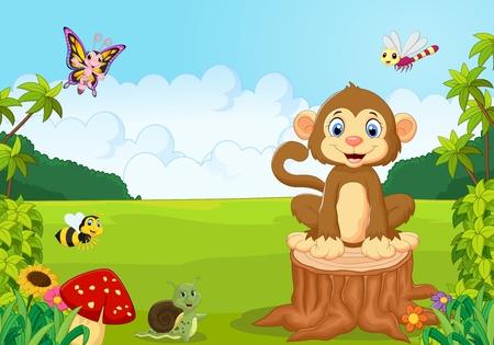 cute monkey: Happy monkey in the forest Illustration