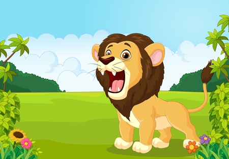 cartoon trees: Cartoon lion roaring illustration Illustration