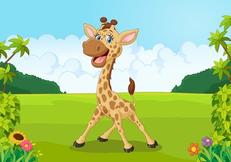 kids fun: Cute giraffe cartoon with beautiful landscape Illustration