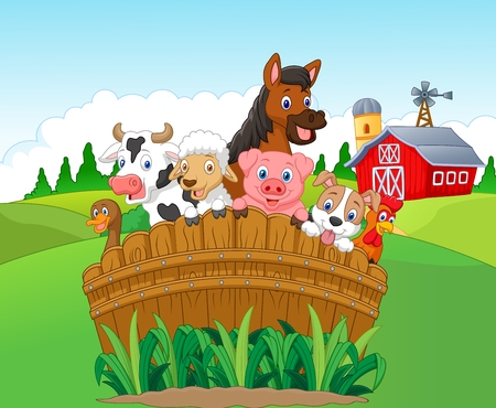 cute animal: Collection farm animals Illustration
