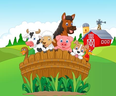 Verzameling boerderijdieren Stock Illustratie