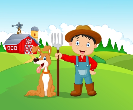child and dog: Cartoon little boy and dog in the farm