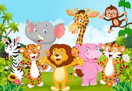 Tecknad glad liten djur