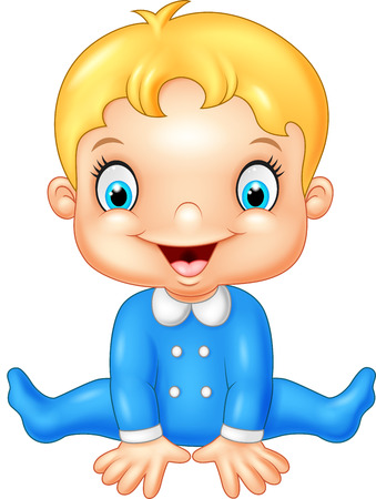 baby boy: Cartoon baby boy wearing blue pajama