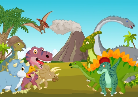 dinosaur animal: Cartoon group of dinosaur with mountain