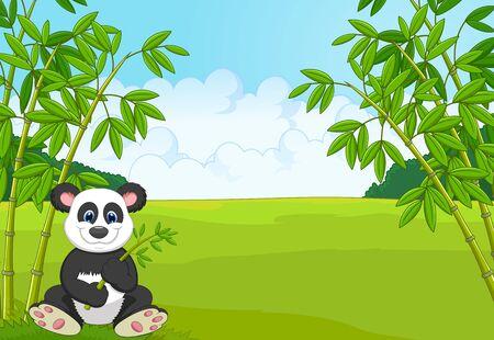panda: Cartoon cute panda in the bamboo forest