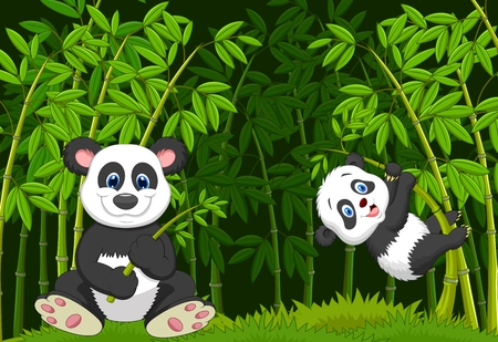Cartoon mom and baby panda in the climbing bamboo tree Illustration