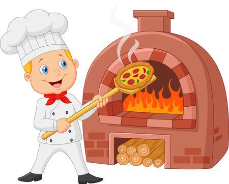estufa: Cocinero de la historieta que sostiene la pizza caliente con horno tradicional