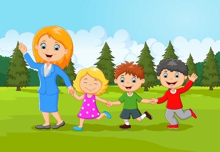 arboles caricatura: Familia feliz de dibujos animados en el bosque