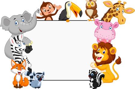 flor caricatura: Animales colección de dibujos animados con la muestra en blanco. aislado
