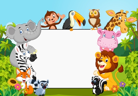 Cartoon collection animal with blank sign