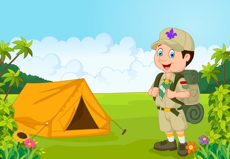 backpack: Cartoon little boy scout with tent