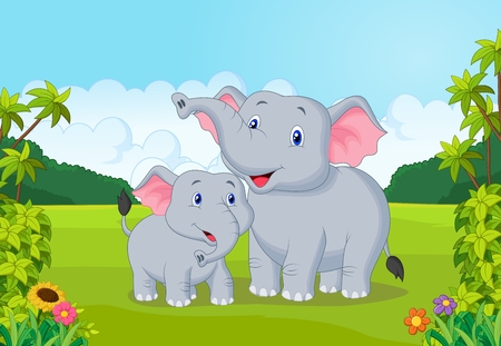 selva caricatura: Madre de dibujos animados y bebé elefante Vectores
