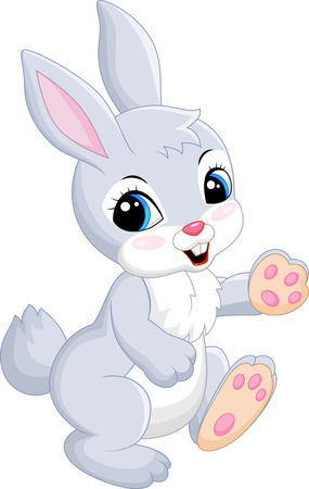 Cute bunny dancing cartoon on white background