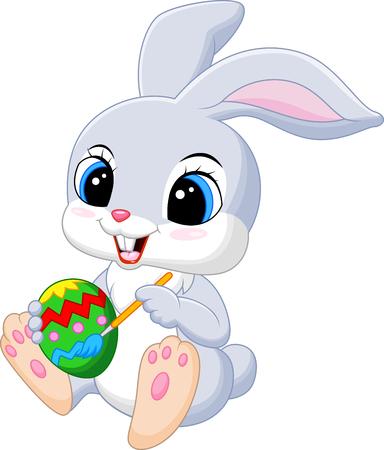 bunny: Cute Easter Bunny painting an egg Illustration