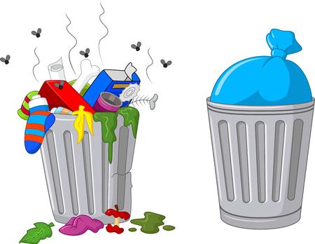 Illustratie van een cartoon prullenbak. Stock Illustratie