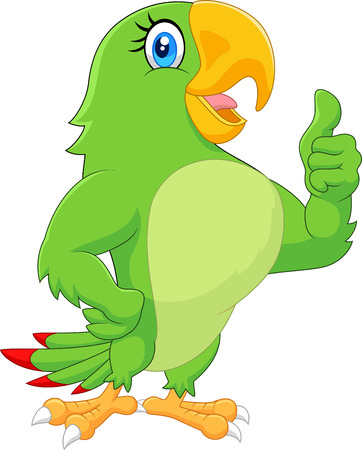 thump up: Cartoon parrot giving thumb up Illustration