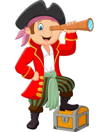 kijker: Cartoon pirate looking through binoculars Stock Illustratie