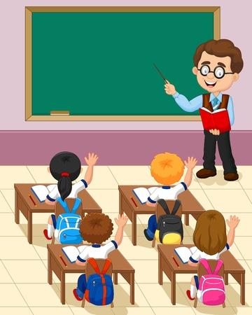 vector studies: cartoon little kid a study in the classroom