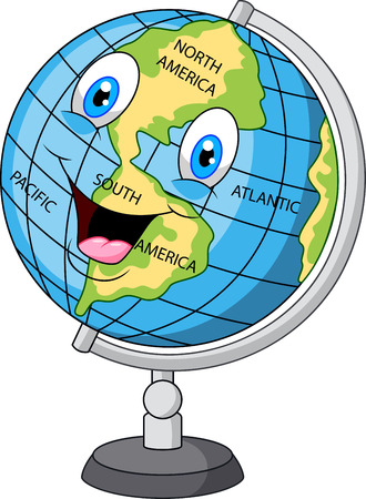 earth globe: Cartoon happy globe