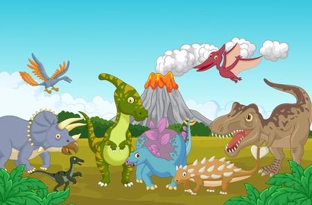 selva caricatura: Colección de dinosaurio en la selva