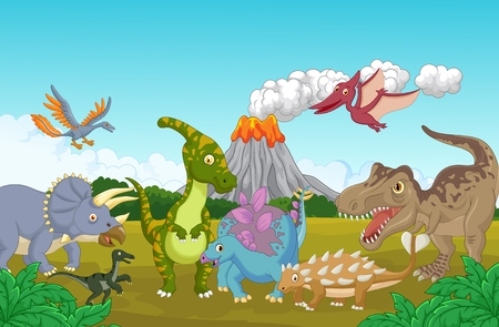 cartoon volcano: Collection dinosaur in the jungle