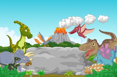 large group of animals: Collection dinosaur happy