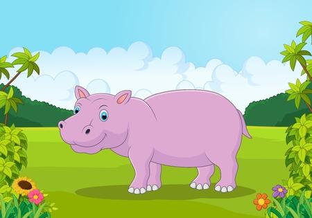 cute animals: Cartoon big hippo