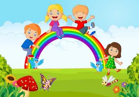 clouds: garden: Cartoon Happy kids sitting on rainbow on the forest Illustration