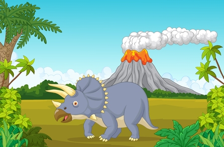 triceratops: Prehistoric scene with triceratops cartoon and volcano Illustration