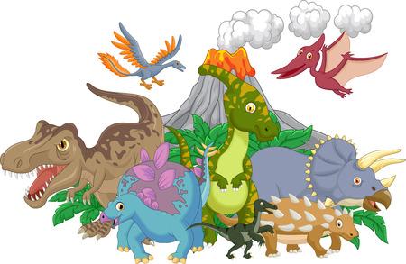 dinosaurio caricatura: Colección de dinosaurio con el volcán