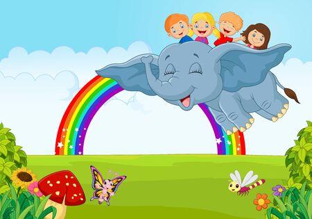 dragonfly: Cartoon little kid on the rainbow