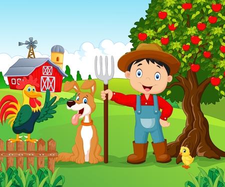 granja caricatura: Niño de dibujos animados y perro en la granja