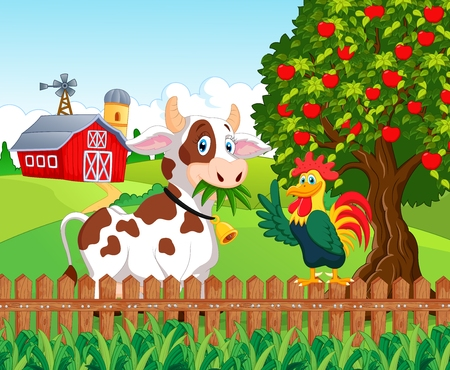 Happy cow and chicken in the farm Stock Illustratie
