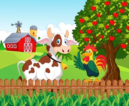 vaca caricatura: Vaca feliz y el pollo en la granja