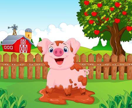 cerdo caricatura: Cartoon cerdo lindo bebé en el jardín
