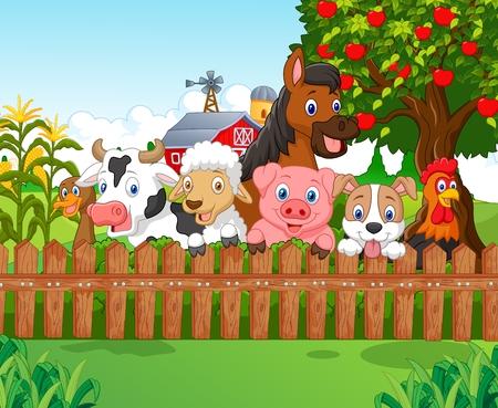albero di mele: Animali da fattoria Collection Vettoriali