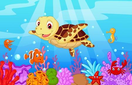 caballo de mar: Bebé de la historieta tortuga linda con pescado colección
