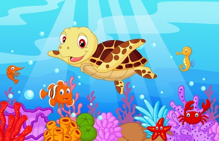 turtle: Cartoon baby cute turtle with collection fish
