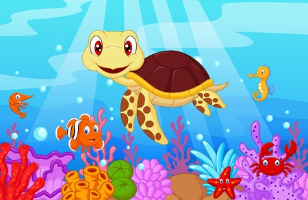 Cute baby turtle cartoon with collection fish Vettoriali