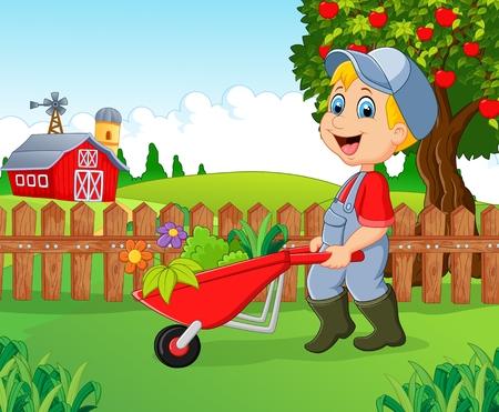 Cartoon little boy holding wheelbarrow ,