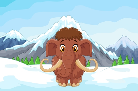elephant: Cartoon mamouth in the ice mountain