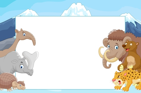 saber tooth: Cartoon collection animal with blank sign