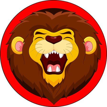lion head: Cartoon lion roaring Illustration