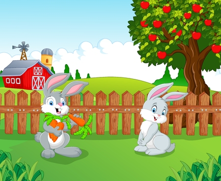 funny animals: Cartoon little bunny in the farm Illustration