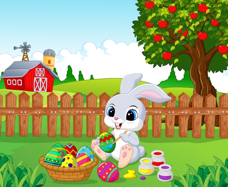 osterhase: Cute Easter Bunny painting an egg in the garden Illustration