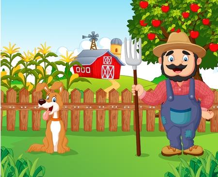 Cartoon agricoltore che detiene un rastrello con cane