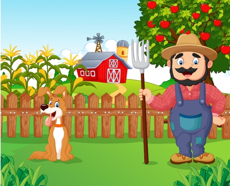 Cartoon rolnik trzyma grabie z psem